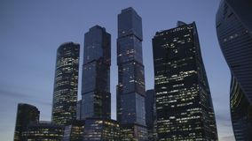 Affärsmitt i Moskva på aftonen arkivfilmer