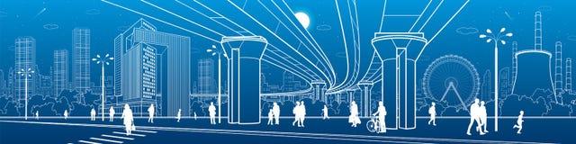 Affärsmitt, stadsarkitekturpanorama Folk som går på stadgatan Vägövergångsställe Vägbro, planskild korsning Ferris Wheel U stock illustrationer