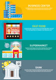 Affärsmitt, supermarket, bank, snabbmat Royaltyfri Foto