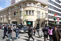 Affärsområde av La Paz, Bolivia Arkivfoto
