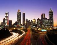 Affärsområde på skymning, Atlanta. Royaltyfria Foton
