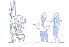 Affärspar som ser konstgjord intelligens för den moderna innovativa robotmankvinnan, skissar det horisontalklottret stock illustrationer