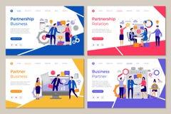 Affärspartnerlandning Folket för webbsidamallidékläckning arbetar vektorn för strategi för partnerskapfinansmötet stock illustrationer
