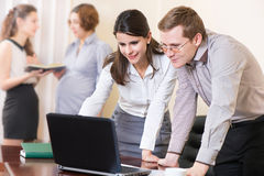Affärspartners som arbetar med bärbara datorn Royaltyfri Bild