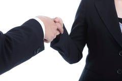 Affärspartnerskakahand för lyckad affär Arkivfoton