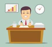 Affärsperson som i regeringsställning arbetar timme Royaltyfri Bild