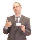 Affärsperson som visar visitkorten Arkivbild
