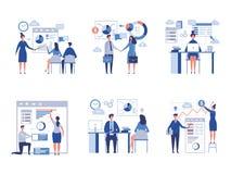 Affärsplatssamling Abstrakta kontorsteckenchefer i storformat som direktörer tränger ihop laget, arbetade vektoraffärsmän royaltyfri illustrationer