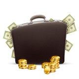 Affärsportfölj mycket av pengar Arkivfoton