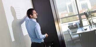 Affärspresentation på företags möte arkivfoton