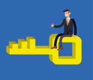 Affärsrörelse in mot lösningsbegrepp stock illustrationer