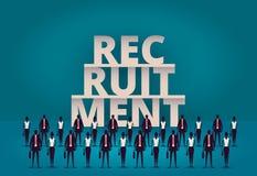 affärsrekryteringbegrepp Timme-chef som hyr nya anställd eller arbetare för jobb Rekrytera personalen eller personaler i deras fö vektor illustrationer