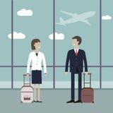 Affärsresande i flygplatsen royaltyfri illustrationer