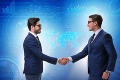 Affärssamarbetsbegreppet med affärsmän räcker att skaka royaltyfria bilder