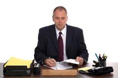 affärsskrivbord hans chef Royaltyfri Fotografi