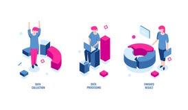 Affärsstatistik, datasamling och data - bearbeta den isometriska symbolen, färdigt resultat, diagramdiagram, inkomst och royaltyfri illustrationer