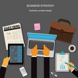 Affärsstrategi, affärsidé, apps, vektorillustration i den plana designen för webbplatser Arkivbilder