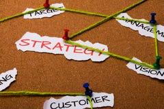 Affärsstrategi. Fokusen är endast på ordaffärsstrategin, i red. Andra ord är oskarpa 免版税库存照片