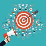 Affärsstrategi. Fokusen är endast på ordaffärsstrategin, i red. Andra ord är oskarpa 平的设计图表元素,标志,线被设置的象 数字式营销概念 库存照片