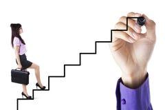 Affärsstrategi med affärskvinnaklättringstegen royaltyfria foton