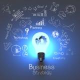 Affärsstrategi och ljus kula med kugghjul Fotografering för Bildbyråer