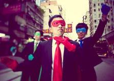 Affärssuperheroes i Hong Kong royaltyfri bild