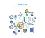 Affärssyfte Inställningsmål och deras prestation, affärsplanläggning, strategi royaltyfri illustrationer