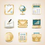 Affärssymboler av guld Royaltyfri Bild