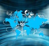 Affärssymboler och blå världskarta royaltyfri illustrationer