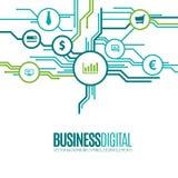 Affärssymboler som orientering för digital teknologi Arkivfoto