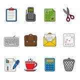 affärssymboler ställde in vektorn Färg skisserad symbolssamling Royaltyfri Fotografi