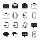 Affärssymbolsuppsättning av kommunikationssymboler Telefon meddelandebubblor, emailtecken stock illustrationer