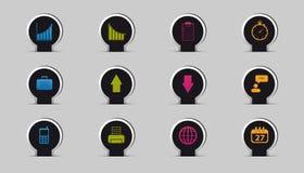 Affärssymbolsuppsättning - klistermärken eller Pin Design With Shadow - färgrik vektorillustration - som isoleras på Gray Backgro royaltyfri illustrationer