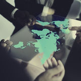 AffärsTeam Global Business Planning Working begrepp Arkivfoto