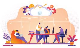 AffärsTeam Working Together Using Cloud service royaltyfri illustrationer