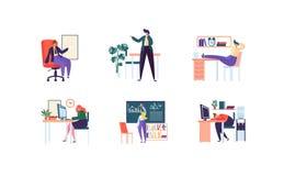 Affärstecken som i regeringsställning arbetar Företags avdelning med affärsfolk Ledning organisation, arbetsplats stock illustrationer