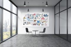 Affärsteckning på whiteboard Fotografering för Bildbyråer
