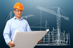 Affärstekniker på konstruktionsplatsen arkivbilder