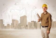 Affärstekniker som hyvlar på konstruktionsplatsen med stadsbackgro stock illustrationer