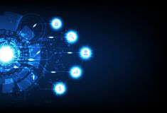 Affärsteknologi, Digital futuristisk pixelatedator, information om data, tecken och elektrisk blå ljus gnistrande för symbolneon royaltyfri illustrationer