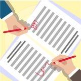 Affärstemasymboler Avslutning av avtalet händer två Royaltyfri Bild