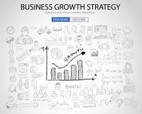 Affärstillväxtstrategi med klotterdesignstil stock illustrationer