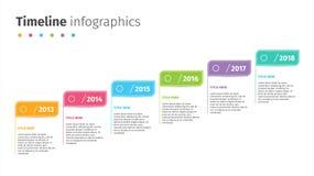 Affärstimelinen med moment sjunker infographics Företags milstolpediagrambeståndsdelar Mall för företagspresentationsglidbana med royaltyfri illustrationer