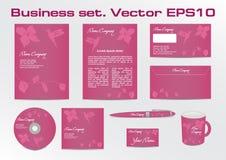 Affärsuppsättning, kolibrilogotypdesign för Arkivbilder