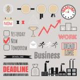 Affärsuppsättning, ramar, infographic beståndsdelar, symboler Arkivbild