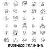 Affärsutbildning, utbildningsperiod som lär, affärsmöte, presentationslinje symboler Redigerbara slaglängder Plan design arkivbilder