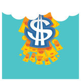 Affärsvektorsilverdollar en härlig himmelblått tillbaka Arkivfoto