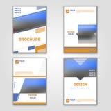 Affärsvektoruppsättning Broschyrmallorientering, räkningsdesignårsrapport, tidskrift, reklamblad i A4 med trianglar för gulingblå royaltyfri illustrationer