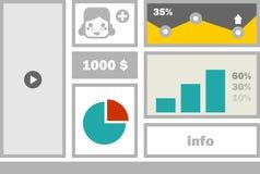 Affärswebsitemeny med pojkeframsidan. Arkivfoton