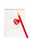 Affûteuse sous forme de coeur avec le bloc - notes Photos stock